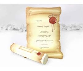 Partecipazione di nozze a pergamena
