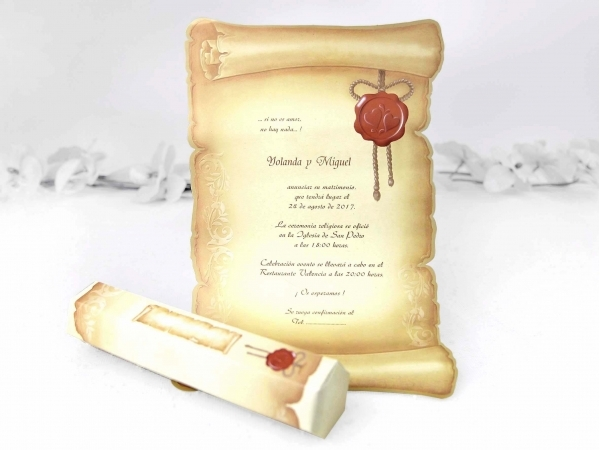 Pergamena Matrimonio Simbolico : Partecipazione di nozze a pergamena fashionozze