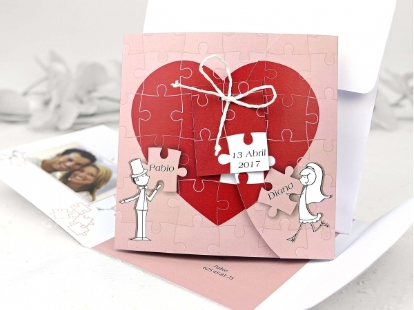 Partecipazioni Matrimonio Puzzle Prezzo.Partecipazione Di Nozze Cuore Puzzle Fashionozze Com