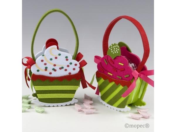 Cestino feltro - cupcake