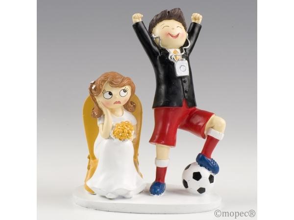 Figurina per torta - sposa e calciatore