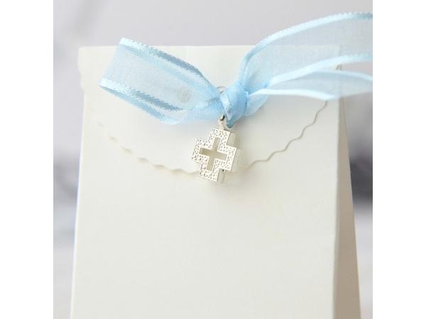 Croce con fiocco celeste