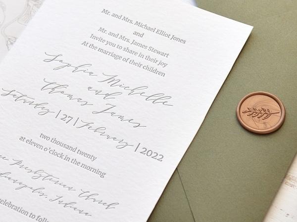 Partecipazione in Carta Cotone-Letterpress