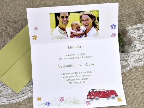 Bomboniere Matrimonio E Battesimo Insieme.Partecipazione 2 In 1 Nozze E Battesimo Fashionozze Com